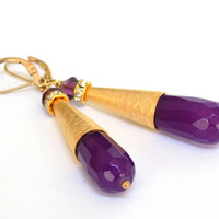 Amethyst Earrings, Purple Earrings, Cone Earrings, Gold Earrings, Handmade Earrings, Handcrafted Jewelry, Unique Earrings, Purple Jewelry