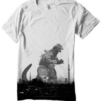 Godzilla T Shirt Japan tokyo skyline skytree tower mt fuji Unisex Tee Shirt Nippon Hand Screenprinted