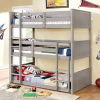 Therese collection triple twin bed twin over twin over twin gray finish wood bunk bed