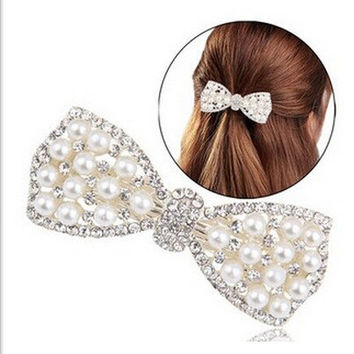 2015 Cheap New Cute Bow Crystal Pearl Barrettes Hair Clip Hairpin Headwear for Women Fashion Hair Jewelry Accessories