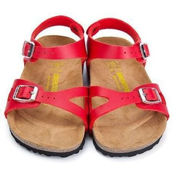 Birkenstock Leather Cork Flats Shoes Boys and girls Casual Sandals Shoes Soft Footbed