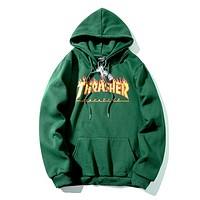 Thrasher Autumn And Winter New Fashion Bust Flame Letter Print Women Men Leisure Hooded Long Sleeve Sweater Green