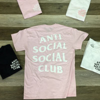 Anti Social Club Baby Pink W White Club Tee 2 White/ ASSC / Kanye West Anti Social  How Boutanti social clubthe weeknd clothing