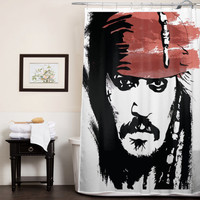 Jack Sparrow Johnny Depp Pirate of the caribbean custom shower curtain