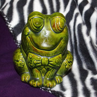 Vintage Green Frog Coin Bank