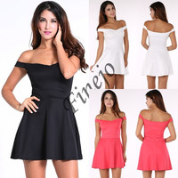 Sexy Women's Dress Backless Off The Shoulder Big Swing Night Dress Clubwear SV003493