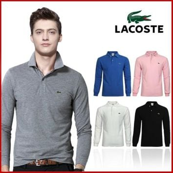 HOT LACOSTE MENS LONG POLO T SHIRT 17 COLORS