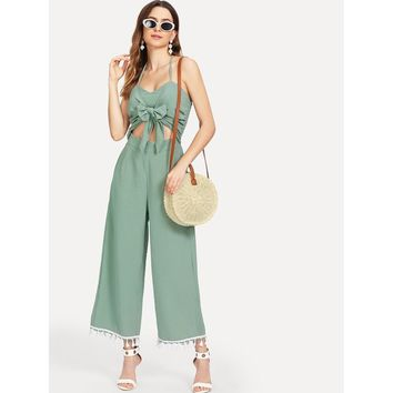 Cut Out Knot Front Fringe Trim Jumpsuit