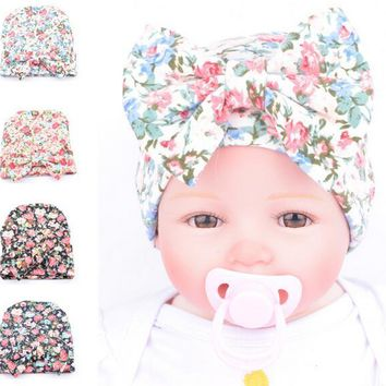 Newborn Baby Floral Hat Big Bow Baby Hat Organic Cotton Spring Autumn Hat Newborn Hospital Hat Baby Infant Gift