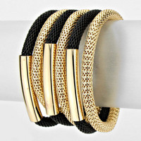 6 row black gold multi layer stretchable cuff mesh coil bracelet bangle