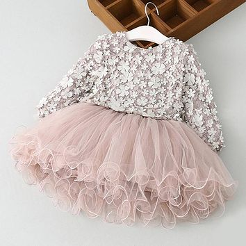 New Lace Flower Princess Dress 2018 Spring Girl Dress Winter Long Sleeve Three-Dimensional Petals Pompon Net Yarn Girls Clothes