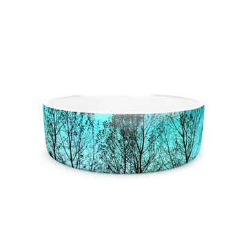 "Sylvia Cook ""Dark Forest"" Blue Trees Pet Bowl"