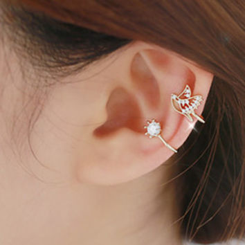 Hot New Fashion Ear Cuff Brincos Rhinestone Lovely Small Dove Charming Personalized Clip Earrings Free Shipping
