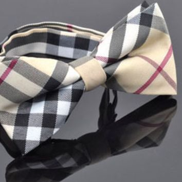 Checkered Black and White Bowtie on Cream with Stripes
