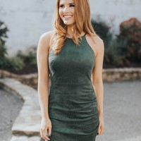 Ivy Suede Dress, Forest Green