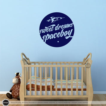 Sweet Dreams Spaceboy Wall/Door Decal - (Children Nursery Baby)
