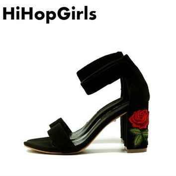 HiHopGirls 2018 Summer fashion Roman embroidered Women Shoes sexy High Heels Solid color Gladiator Peep Toe Pumps Woman Sandals