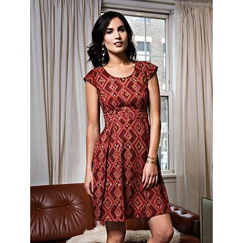 Mata Traders Vintage Pleat Dress Brick Red