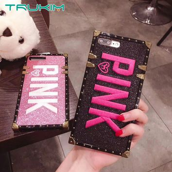 Luxury Embroidery 3D Pink Letter Case for iphone 7 8 7Plus Glitter Metal Square Phone Cases for iPhone X XR XS MAX 6 6s Plus