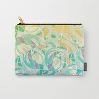 Summer Beach Days Abstract - Yellows And Blues Carry-All Pouch by gx9designs