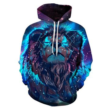 Lion Constellation - 3-D Graphic Printed Hooded Sweatshirt -  Casual Unisex