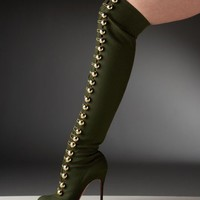 Christian Louboutin Flannel Over The Knee Boot