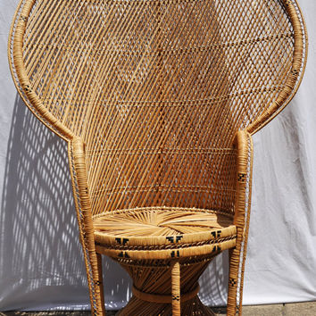 Vintage Fan Back Peacock Wicker Chair, Hollywood Regency Palm Beach Retro Bohemian Hippie