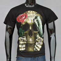 Cotton Skull Print T-Shirt