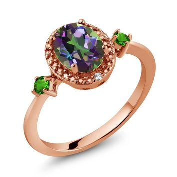 1.45 Ct Oval Mystic Topaz 18K Rose Gold Plated Silver Ring With Accent Diamond