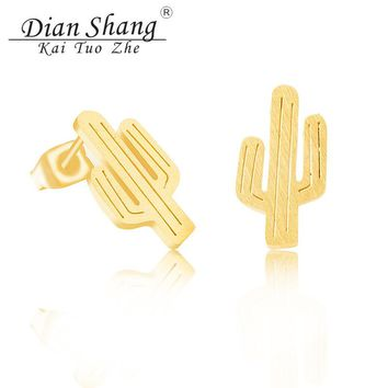 Dainty Ear Studs 2017 Summer Stainless Steel Gold Color Brincos Mexico Saguaro Cactus Stud Earrings For Women Boho Jewelry BFF
