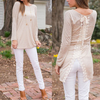LACE STITCHING LONG-SLEEVED T-SHIRT