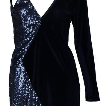 Lo One Sleeve Velvet and Sequin Mini Dress | Boohoo