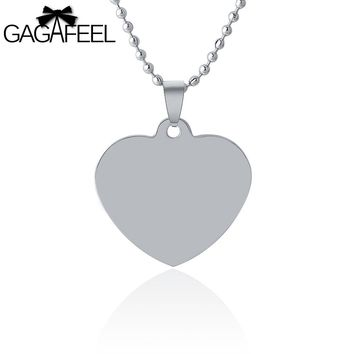 GAGAFFEL Lovely Love Heart Pendant Necklaces Stainless Steel Laser Engraving/Customized Logo For Boy Girls Couples Love Gifts