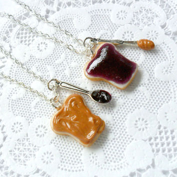 Peanut Butter Jelly Necklace Set, BFF, Sterling Silver Chain