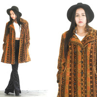 Vintage 70s CARPET Tapestry KILIM Ikat Long Orange Jacket Coat // Black Multi // Boho Gypsy Hippie // XS / Small / Medium / Large