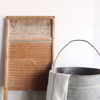 Vintage Wood Washboard, Sunnyland, Farmhouse, Country-Chic