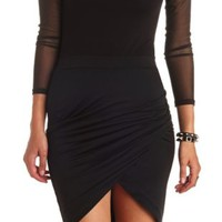 Ruched Bodycon Tulip Skirt by Charlotte Russe - Black