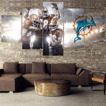 Ball Team Animal Paintings Miami Dolphins Modern Home Decor Living Room Bedroom Wall Art Canvas Print Painting Calligraphy