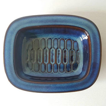 Vintage Danish Blue Ceramic Bowl - Soholm 1970s