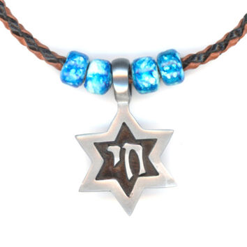 Star of David Pendant Braided Leather Tan and Black Necklace
