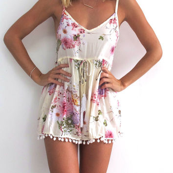 White Floral Print High Waited Romper with Pom Decor