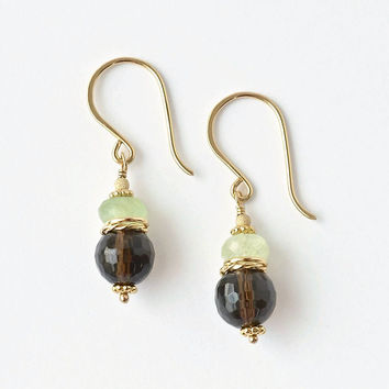 Smokey Quartz Earrings / Brown Gemstone Earrings / Prehnite Earrings / Gold Smokey Quartz / Stacked Earrings / Brown Green Earrings / Dangle