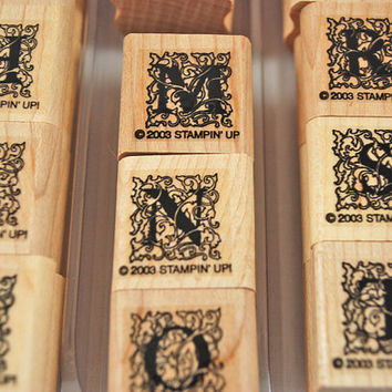"RUBBER STAMPS Stampin Up ""Ornate Alphabet""  Never Used Stamp Set - Great Alphabet - Scrapbooking, Cardmaking Collage"