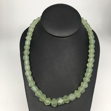 1pc,7mm-10mm,Natural Nephrite Jade Rectangle Corner Cut Beaded Necklace,NPH107