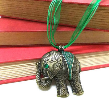 Large Bronze Elephant Necklace + Green Rhinestones, Bronze Necklace, Rhinestone Elephant, Protection Necklace, Lucky Necklace,Green Necklace