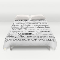 Writer Duvet Cover by Rebekah Joan