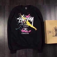 ESB3ONH Stussy Hip Hop Hooded Woman Men Fashion Top Sweater Pullover