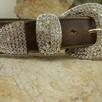 Brown Leather Rhinestone Western Belt With Rhinestone Belt Buckle Keeper and Tip Distressed Snap Strap Belt Small