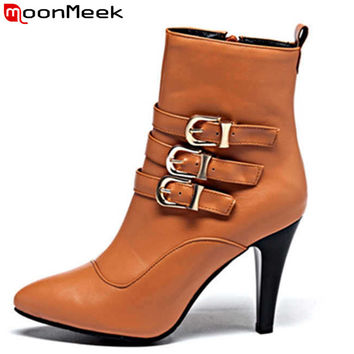 MoonMeek Plus size 33-43 pointed toe zipper buckle stiletto high heels fashion PU soft leather women autumn ankle boots shoes