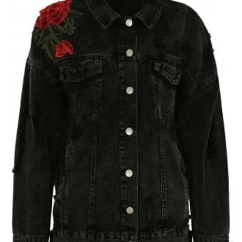 Washed Denim Floral Jacket | Attitude Clothing